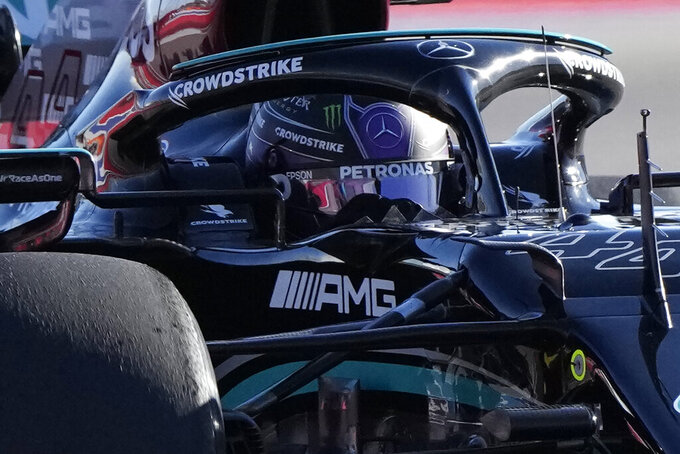Mercedes driver Lewis Hamilton of Britain steers his car during the second practice session at the Sochi Autodrom circuit, in Sochi, Russia, Friday, Sept. 24, 2021. The Russian Formula One Grand Prix will be held on Sunday. (AP Photo/Sergei Grits)