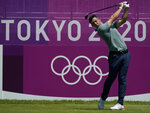 Rory McIlroy of Ireland watches his tee shot on the first hole during the final round of the men's golf event at the 2020 Summer Olympics on Sunday, Aug. 1, 2021, in Kawagoe, Japan. (AP Photo/Matt York)