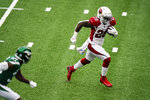 Arizona Cardinals running back Chase Edmonds, right, runs in for a touchdown during the first half of an NFL football game against the New York Jets, Sunday, Oct. 11, 2020, in East Rutherford. (AP Photo/Seth Wenig)
