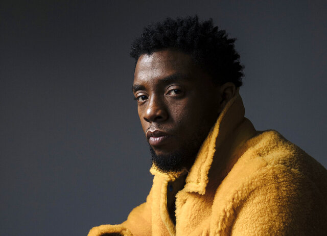 FILE - In this Feb. 14, 2018 photo, actor Chadwick Boseman poses for a portrait in New York to promote his film,
