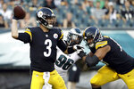 Pittsburgh Steelers' Landry Jones throws a pass during the first half of the team's preseason NFL football game against the Philadelphia Eagles, Thursday, Aug. 9, 2018, in Philadelphia. (AP Photo/Michael Perez)