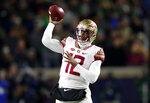Florida State quarterback Deondre Francois (12) prepares to throw in the first half of an NCAA college football game against the Notre Dame in South Bend, Ind., Saturday, Nov. 10, 2018. (AP Photo/Paul Sancya)