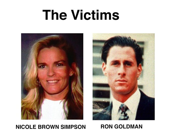 FILE - This file combination photo shows Nicole Brown Simpson, left, and Ron Goldman. The June 12, 1994, killings of Nicole Brown Simpson and her friend Ron Goldman brought the