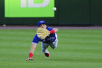 Toronto Blue Jays outfielder Randal Grichuk makes a diving catch for the out on New York Yankees' Dj LaMahieu during the fifth inning of a baseball game Wednesday, June 16, 2021, in Buffalo, N.Y. (AP Photo/Jeffrey T. Barnes)