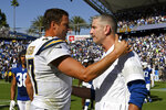 FILE - In this Sept. 8, 2019, file photo, Los Angeles Chargers quarterback Philip Rivers, left, greets Indianapolis Colts head coach Frank Reich after an NFL football game in Carson, Calif. The Indianapolis Colts bet big on 38-year-old Philip Rivers. They're hoping the $25 million investment in a new starting quarterback pays off with a playoff appearance and perhaps Super Bowl run. Colts coach Frank Reich insists he's seen no physical decline in the eight-time Pro Bowler. (AP Photo/Mark J. Terrill, File)
