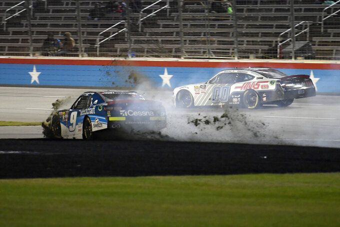 Noah Gragson (9) wrecks coming out of Turn 4 and onto the front stretch during the NASCAR Xfinity Series auto race at Texas Motor Speedway in Fort Worth, Texas, Saturday, Nov. 2, 2019. (AP Photo/Larry Papke)