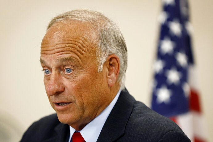 U.S. Rep. Steve King, R-Iowa, speaks during a town hall meeting, Tuesday, Aug. 13, 2019, in Boone, Iowa. King is defending his call for a ban on all abortions by questioning whether