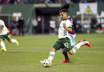 Portland Timbers midfielder Sebastian Blanco (10) winds up for a shot on goal during an MLS soccer match against the Colorado Rapids, Wednesday, Sept. 15, 2021 in Portland, Ore. (Sean Meagher/The Oregonian via AP)