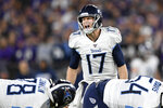 FILE - In this Jan. 11, 2020, file photo, Tennessee Titans quarterback Ryan Tannehill (17) yells during the first half an NFL divisional playoff football game against the Baltimore Ravens in Baltimore. For the first time in years, quarterback is not an issue for the Titans. Tannehill earned a four-year, $118 million deal after going 9-4 as a starter coming off the bench, including 7-3 in the final 10 games of the regular season to turn around a 2-4 start. (AP Photo/Nick Wass, File)