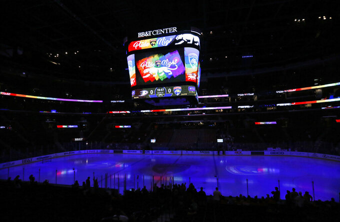 "In this Feb. 3, 2017, photo, the scoreboard shows ""Pride Night,"" before the start of an NHL hockey game between the Florida Panthers and the Anaheim Ducks in Sunrise, Fla. Researchers say a survey of players in the Australian Ice Hockey League shows homophobic language is often used but that an even higher percentage of competitors would make a gay player feel welcome. (AP Photo/Wilfredo Lee)"