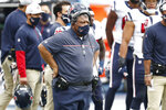 Houston Texans interim head coach Romeo Crennel watches from the sideline in the second half of an NFL football game against the Tennessee Titans Sunday, Oct. 18, 2020, in Nashville, Tenn. (AP Photo/Wade Payne)