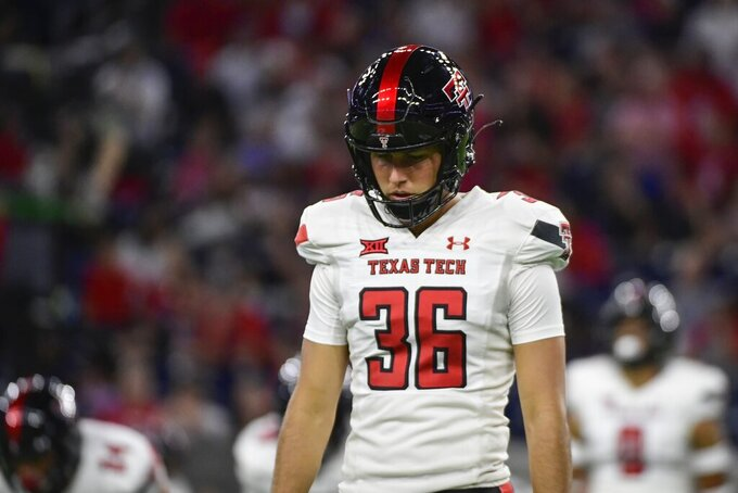 Texas Tech place kicker Trey Wolff (36) prepares to kick to Houston during the second half of an NCAA college football game Saturday, Sept. 4, 2021, in Houston. (AP Photo/Justin Rex)