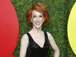 """FILE - Comedian Kathy Griffin arrives at the 2018 GQ's Men of the Year Celebration in Beverly Hills, Calif., on Dec. 6, 2018. Griffin has revealed that she is undergoing surgery for lung cancer and her doctors are optimistic she """"should be up and running around as usual in a month or less."""" The comedian took to Instagram and Twitter Monday to say her cancer is considered stage one and confined to her left lung. (Photo by Willy Sanjuan/Invision/AP, File)"""