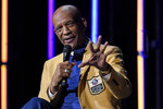 Drew Pearson answers a question, as members of the Pro Football Hall of Fame Class of 2021, participate in an enshrinees' roundtable in Canton, Ohio, Sunday, Aug. 8, 2021. (AP Photo/Gene J. Puskar)