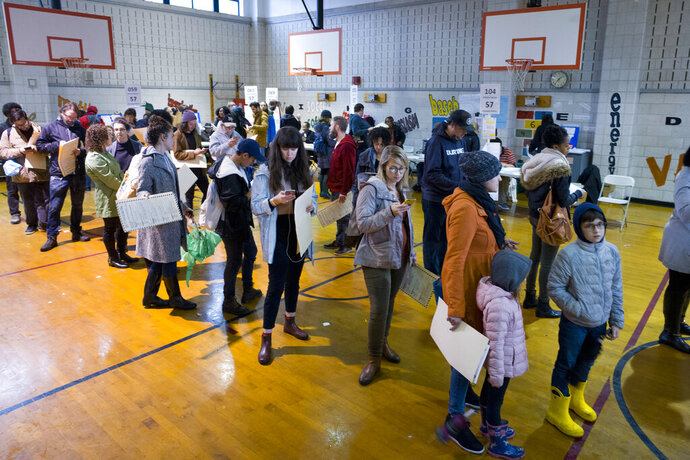 FILE - In this Tuesday, Nov. 6, 2018, file photo, voters stand in line to cast their ballots at P.S. 22, in the Prospect Heights neighborhood in the Brooklyn borough of New York. An effort by Democrats to implement broad reforms to the nation's voting process has stalled in the U.S. Senate, but some states are moving forward to expand access through early voting, same-day voter registration and other measures ahead of 2020. The biggest success for voting rights advocates so far is New York, which had been one of a dozen states not offering some form of early voting. (AP Photo/Mark Lennihan, File)