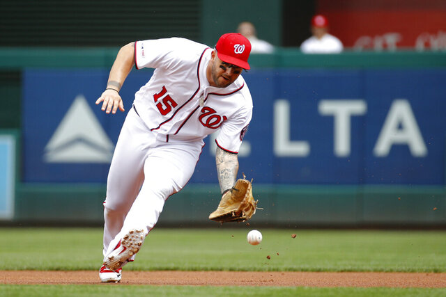 FILE  -  In this Sept. 2, 2019, file photo, Washington Nationals first baseman Matt Adams fields a ground ball during a baseball game against the New York Mets in Washington. Adams has agreed to a minor league contract with the Mets. (AP Photo/Patrick Semansky File)