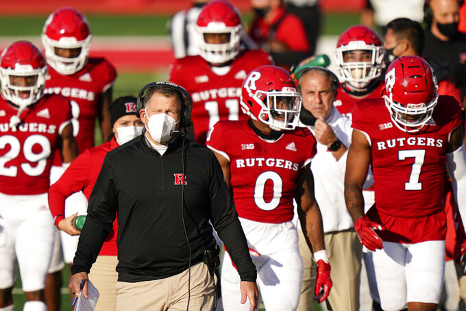 Rutgers head coach Greg Schiano walks on the sideline in the first quarter of an NCAA college football game against Indiana, Saturday, Oct. 31, 2020, in Piscataway, N.J. (AP Photo/Corey Sipkin)