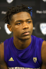 Washington's Nahziah Carter speaks during the Pac-12 NCAA college basketball media day Tuesday, Oct. 8, 2019 in San Francisco. (AP Photo/D. Ross Cameron)