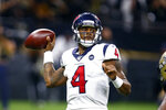Houston Texans quarterback Deshaun Watson (4) passes in the second half of an NFL football game against the New Orleans Saints in New Orleans, Monday, Sept. 9, 2019. (AP Photo/Butch Dill)