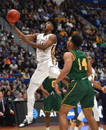 Florida State's Terance Mann (14) shoots as Vermont's Isaiah Moll (14) defends during the second half of a first round men's college basketball game in the NCAA tournament, Thursday, March 21, 2019, in Hartford, Conn. (AP Photo/Jessica Hill)