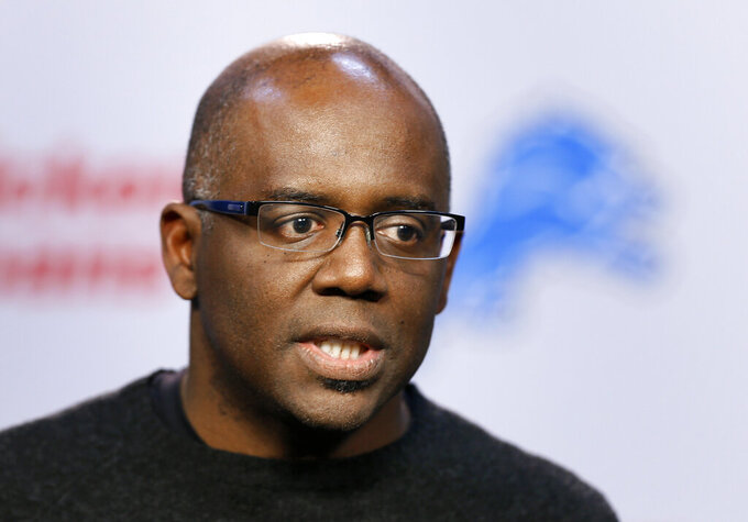 FILE - In this March 11, 2015, file photo, then-Detroit Lions general manager Martin Mayhew speaks during a news conference in Allen Park, Mich. Washington has hired Martin Mayhew to be its new general manager. The hiring of Mayhew makes Washington the only team in the NFL with a Black team president and GM. (AP Photo/Paul Sancya, File)