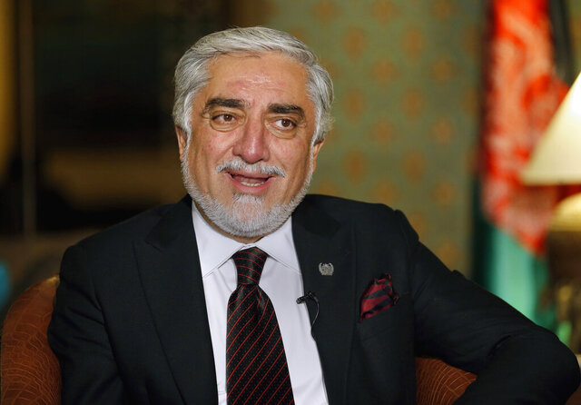 Abdullah Abdullah, chairman of Afghanistan's High Council for National Reconciliation, speaks during an interview with The Associated Press, in Islamabad, Pakistan, Wednesday, Sept. 30, 2020. Abdullah ended a three-day visit to Pakistan optimistic the uneasy neighbors had turned a corner away from a relationship marked by suspicion and downright hostility toward one akin to a partnership for peace in the region. (AP Photo/Anjum Naveed)