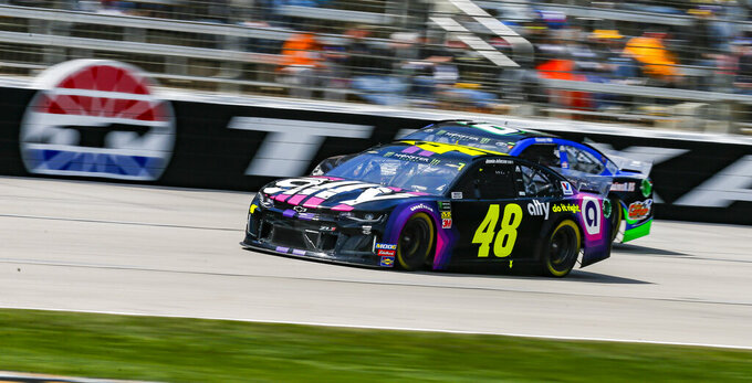 Driver Jimmie Johnson (48) races down the front stretch during a NASCAR Cup auto race at Texas Motor Speedway, Sunday, March 31, 2019, in Fort Worth, Texas. (AP Photo/Brandon Wade)
