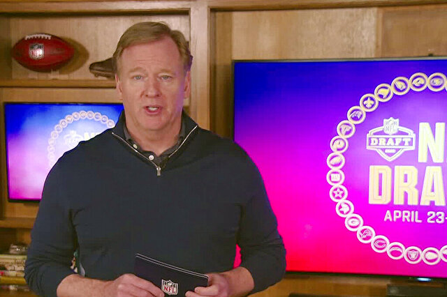 In this still image from video provided by the NFL, NFL Commissioner Roger Goodell during the NFL football draft, Saturday, April 25, 2020. (NFL via AP)