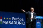 Ferenc Gyurcsany, leader of the leftist opposition Democratic Coalition (DK) speaks during the party's campaign opening event for the European parliamentary elections in Budapest Congress Center in Budapest, Hungary, Sunday, April 14, 2019. The slogan reads: Europe, we stay. (Balazs Mohai/MTI via AP)