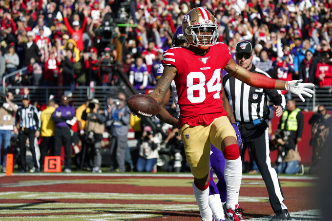 San Francisco 49ers wide receiver Kendrick Bourne (84) celebrates after he scored a touchdown against the Minnesota Vikings during the first half of an NFL divisional playoff football game, Saturday, Jan. 11, 2020, in Santa Clara, Calif. (AP Photo/Tony Avelar)