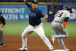 Detroit Tigers' Derek Hill (54) grounds out past Tampa Bay Rays first baseman Ji-Man Choi during the fifth inning of a baseball game Saturday, Sept. 18, 2021, in St. Petersburg, Fla. (AP Photo/Scott Audette)