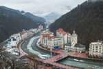 In this photo taken on Friday, Jan. 12, 2018, An aerial view of the ski resort of Rosa Khutor in Sochi, which hosted Olympic skiing in 2014, Russia. The Russian government spent an estimated $51 billion on the Olympics and related infrastructure for Sochi, and the city's seeing the benefits. (AP Photo/Artur Lebedev)