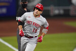 Cincinnati Reds' Joey Votto rounds the bases after hitting a two-run home run during the first inning of a baseball game against the St. Louis Cardinals Friday, Sept. 11, 2020, in St. Louis. (AP Photo/Jeff Roberson)