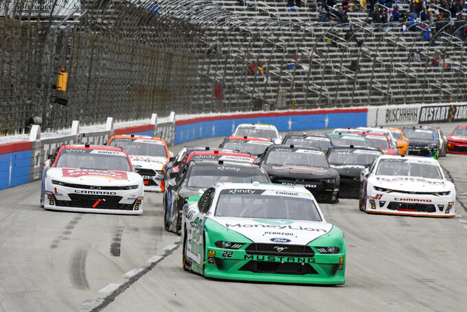 Driver Austin Cindric (22) races down the front stretch during a NASCAR auto race at Texas Motor Speedway, Saturday, March 30, 2019, in Fort Worth, Texas. (AP Photo/Larry Papke)