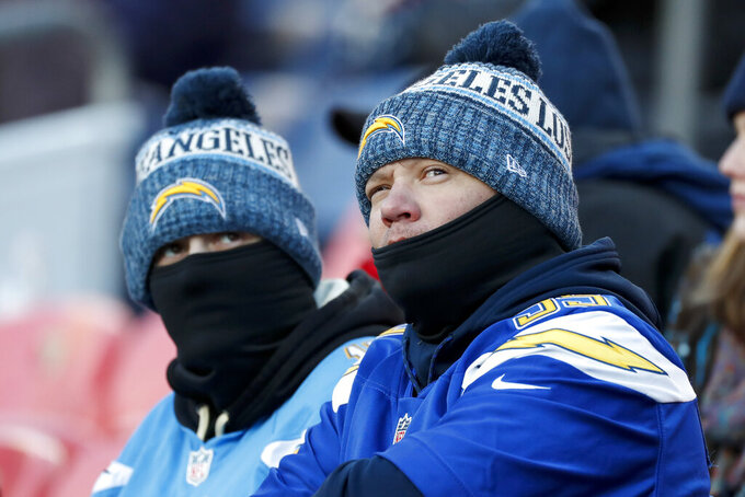 Los Angeles Chargers fans watch during the first half of an NFL football game against the Denver Broncos Sunday, Dec. 1, 2019, in Denver. (AP Photo/David Zalubowski)