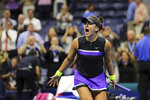 FILE - In this Sept. 5, 2019, file photo, Bianca Andreescu, of Canada, reacts after defeating Belinda Bencic, of Switzerland, during the semifinals of the U.S. Open tennis championships in New York. Reigning U.S. Open champion Bianca Andreescu has pulled out of the Grand Slam tournament. She says the coronavirus pandemic prevented her from properly preparing for competition. (AP Photo/Charles Krupa, File)