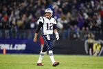 New England Patriots quarterback Tom Brady walks off the field after being intercepted by Baltimore Ravens safety Earl Thomas III during the second half of an NFL football game, Sunday, Nov. 3, 2019, in Baltimore. (AP Photo/Gail Burton)