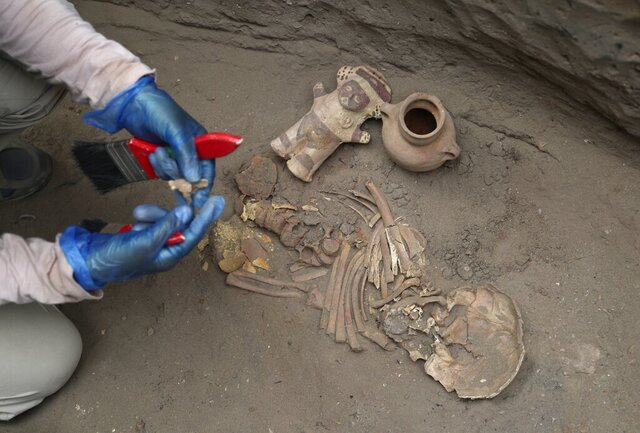 In this Feb. 12, 2020 photo, an archaeologist handles ancient bones and vessels from a previous Inca culture that were discovered by workers building a new natural gas line through the Puente Piedra neighborhood of Lima, Peru. About 300 archaeological finds, some 2,000 years old, have been reported over the past decade during the building of thousands of kilometers (miles) of natural gas pipelines in the capital. (AP Photo/Martin Mejia)