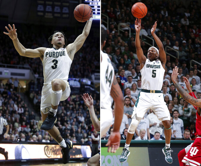 FILE - At left, in a Dec, 29, 2018, file photo, Purdue guard Carsen Edwards (3) goes up for a dunk against Belmont during the second half of an NCAA college basketball game in West Lafayette, Ind. At right, in a Feb. 2, 2019, file photo, Michigan State's Cassius Winston (5) shoots against Indiana during the second half of an NCAA college basketball game, in East Lansing, Mich. The top conferences in college basketball are wrapping up regular-season play, along with the races to determine each league's player of the year. Winston has kept the Spartans positioned for a regular-season Big Ten title entering Saturday's finale against No. 7 Michigan. That could give him the edge on league-leading scorer Carsen Edwards.  (AP Photo/File)