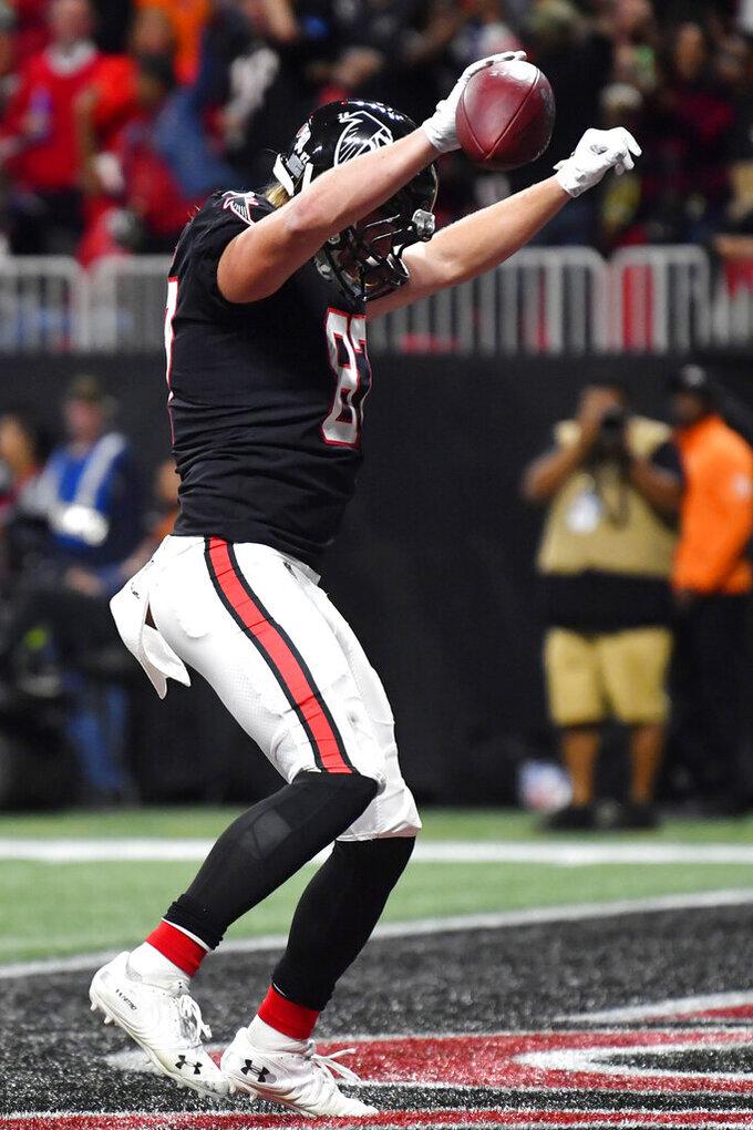 Atlanta Falcons tight end Jaeden Graham (87) celebrates his touchdown against the New Orleans Saints during the first half of an NFL football game, Thursday, Nov. 28, 2019, in Atlanta. (AP Photo/John Amis)