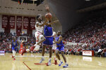 Indiana's Al Durham (1) puts up a shot against Louisiana Tech's Derric Jean (1) during the first half of an NCAA college basketball game, Monday, Nov. 25, 2019, in Bloomington, Ind. (AP Photo/Darron Cummings)