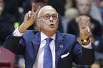 FILE - In this March 6, 2016, file photo, SMU head coach Larry Brown works the bench during the first half of an NCAA college basketball game against Cincinnati, in Cincinnati. Memphis coach Penny Hardaway has added Hall of Famer Larry Brown to the Tigers' staff as an assistant, reuniting the former New York Knicks player and coach.  (AP Photo/John Minchillo, File)