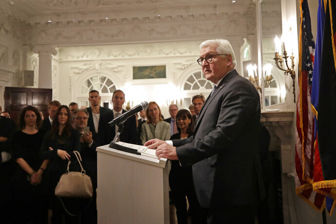 German President Frank-Walter Steinmeier speaks at the Goethe Institute,Thursday, Oct. 31, 2019, in Boston. (AP Photo/Elise Amendola)