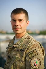 In this image provided by the Pete Buttigieg Presidential Campaign, Pete Buttigieg poses for a photo when he was deployed in Afghanistan. Buttigieg volunteered for military service and did a seven month tour in Afghanistan as an intelligence officer. He walks a narrow path between giving his wartime service its due and overstating it. (Pete Buttigieg Presidential Campaign via AP)