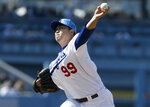 Los Angeles Dodgers starting pitcher Hyun-Jin Ryu throws to a Chicago Cubs batter during the first inning of a baseball game in Los Angeles, Sunday, June 16, 2019. (AP Photo/Alex Gallardo)