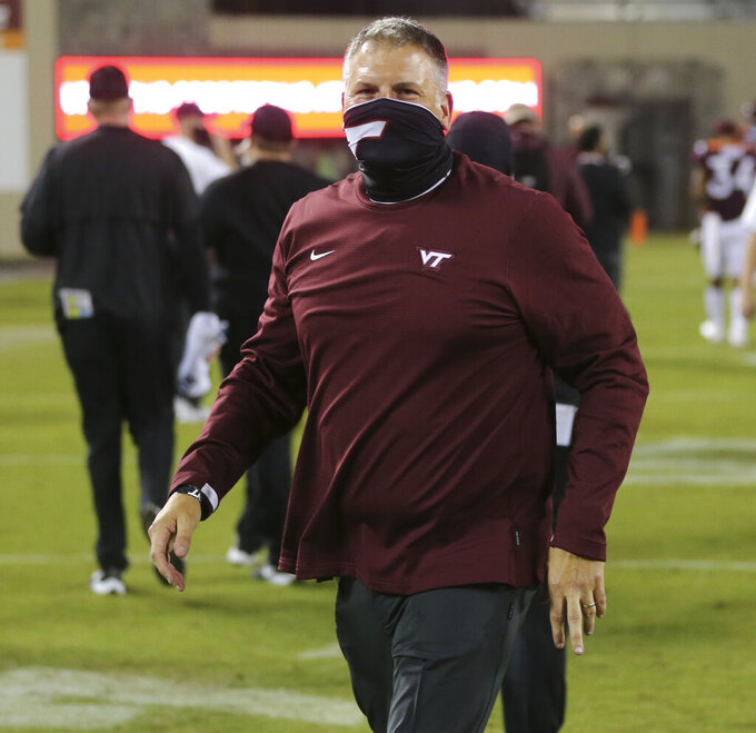Virginia Tech head coach Justin Fuente looks on after an NCAA college football game against North Carolina State Saturday, Sept. 26, 2020, in Blacksburg, Va. (Matt Gentry/The Roanoke Times via AP, Pool)
