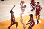 Tennessee forward John Fulkerson (10) shoots during an NCAA college basketball game against Alabama Saturday, Jan. 2, 2021, in Knoxville, Tenn. (Caitie McMekin/Knoxville News Sentinel via AP, Pool)