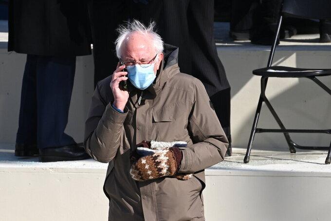 Vermont Senator Bernie Sanders arrives for the 59th Presidential Inauguration at the U.S. Capitol for President-elect Joe Biden in Washington, Wednesday, Jan. 20, 2021. (Saul Loeb/Pool Photo via AP)