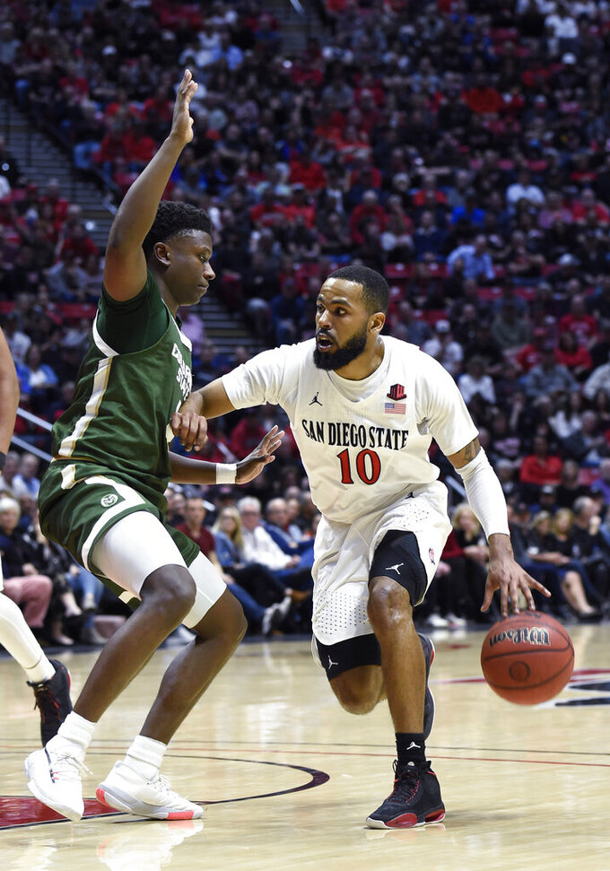 San Diego State guard KJ Feagin (10) drives past Colorado State guard Isaiah Stevens (4) during the first half of an NCAA college basketball game Tuesday, Feb. 25, 2020, in San Diego. (AP Photo/Denis Poroy)
