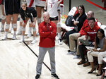 In this Dec. 6, 2019, photo, Wisconsin volleyball coach Kelly Sheffield looks on during an NCAA college volleyball match against Illinois State, in Madison, Wisc. Wisconsin's football team continues practicing amid a pandemic knowing the start of its season is only a week away. Members of the Badgers' other fall sports teams must take a more patient approach. (Steve Apps/Wisconsin State Journal via AP)